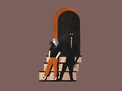 Billie Eilish dark spooky design flat  design flat vector illustration character portrait music bury a friend billie eilish
