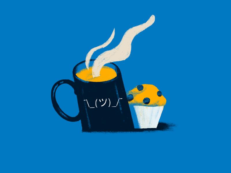 Happy Monday yep monday shrug steam illustration muffin mug