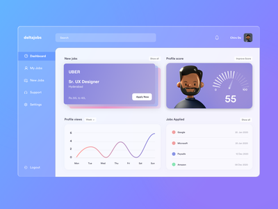 Glass UI Concept website ui design product dashboard ux ui