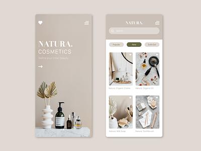 Natura. ui app design cosmetics visual designer graphic design app