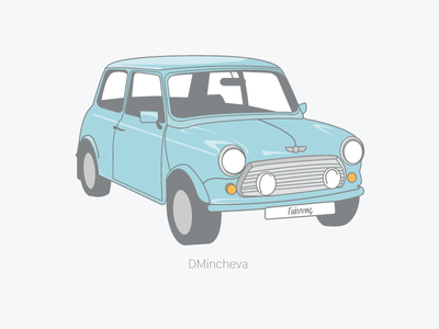 Mini Cooper christening design invitation illustration retro vintage car mini mini cooper