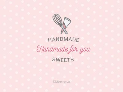 Handmade for you cakes type handmade candy sweet line illustration beer logo branding