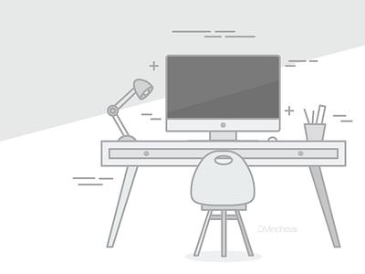 Desk illustration social media creative workplace desk illustration