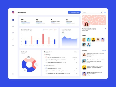 Project Tracking Dashboard profile dashboard ui notification website webdesign activity team user experience interface design ux ui bugs ticket app to do dashboard teamwork