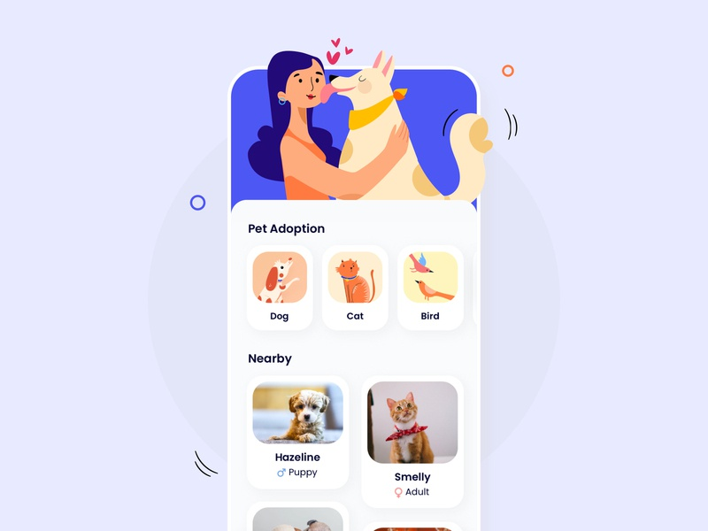 Pet Adoption App doglover pet care booking adopt pet donation location nearby vector clean illustration user experience ios interface design ui design pet adoption app pet dog ux ui