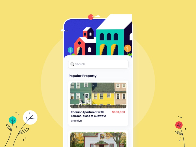 Real Estate filter flat hotel room product design buy property rental airbnb house typography clean illustration minimal app user experience interface design ux ui property