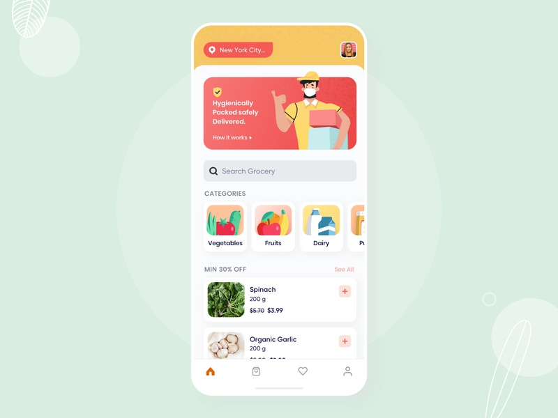 Grocery Delivery coronavirus app design grocery app branding vector clean illustration user experience ios design ui ux graphic design covid-19 delivery app delivery grocery