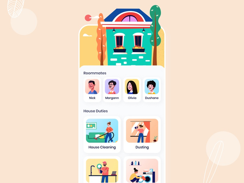Split House Duties Concept Design userinterface corona cleaning laundry app coronavirus covid-19 iphone illustration minimal app user experience ios interface design ux ui