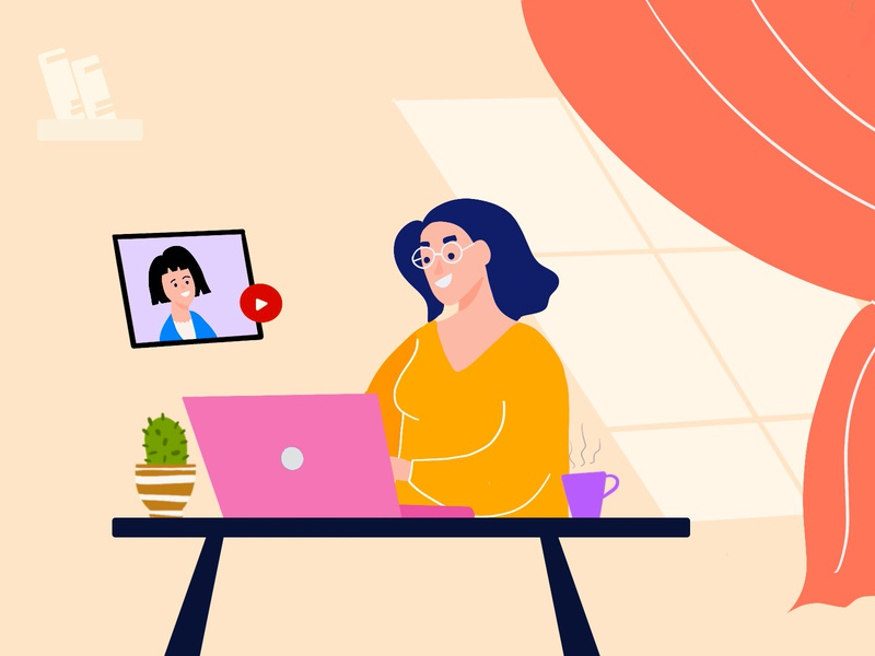 Work From Home - Procreate procreate art procreate artwork staysafe clean minimal interface design ui illustration covid-19 workfromhome