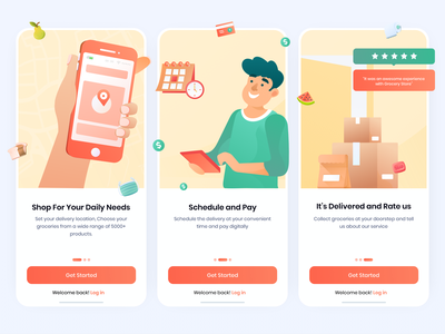 Grocery Delivery Onboarding covid-19 grocery ui deliveryapp grocerydeliveryapp instacart big basket graphic design illustration minimal app user experience ios interface design ux ui onboarding grocery