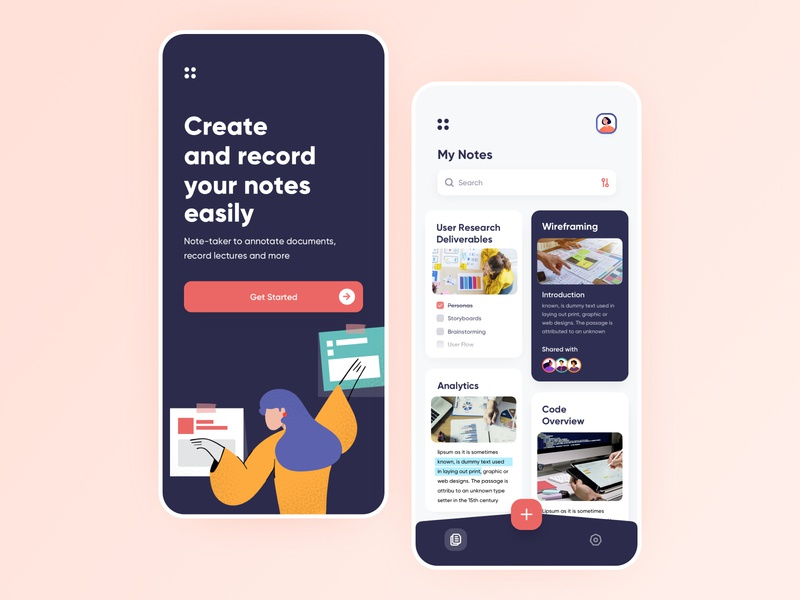Notes App Concept Design notes app onboarding ui procreate artwork vector illustration iphone minimal app user experience ios interface design ux ui to do app