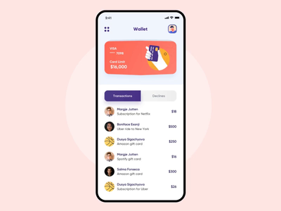 Share credit card with friends and family iphone radar transaction finance finance app fintech micro-interaction microinteraction privacy illustration transactions animation wallet interaction user experience ios interface design ux ui