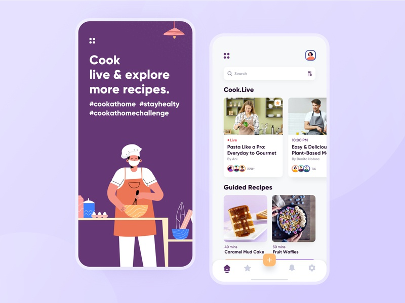 Live cooking app concept restaurant minimal learning platform tutorial food app event app covid19 stayhome food recipes user experience ios interface design ux ui
