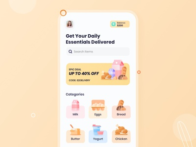 Daily Essentials Delivery - Work In Progress dribbble best shot milkapp foodapp colorful app design trend restaurant minimal popular shot food delivery app food delivery ios interface user experience delivery app design ux ui