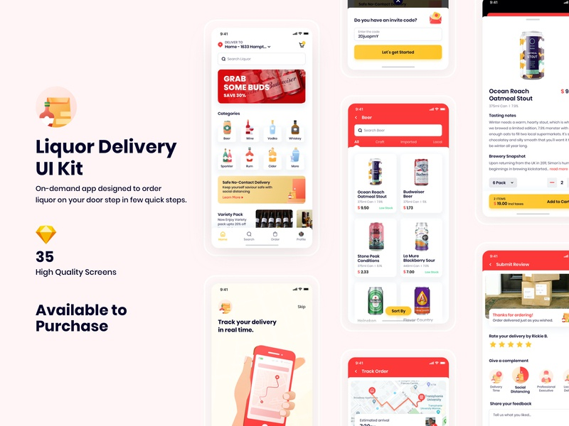 Liquor Delivery App UI Kit | Available to Purchase freshdirect instacart alcohol swiggy zomato contactless whiskey wine vodka beer delivery liquor mobile illustration iphone ios user experience design ux ui