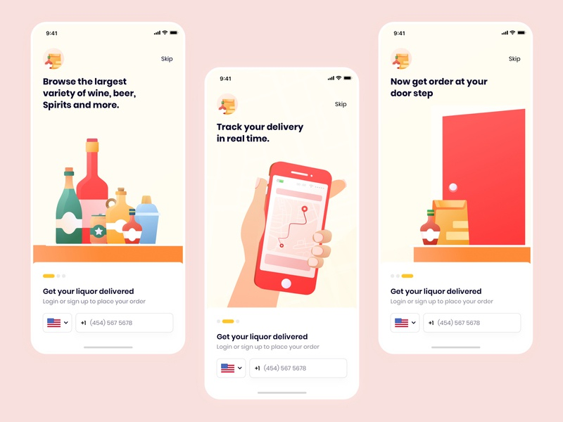 Liquor Delivery Onboarding 2020designs appdesign alcholdelivery freshdirect ios beer fooddelivery instacart illustrations meat delivery grocery delivery delivery app onboarding design ux ui liquor delivery