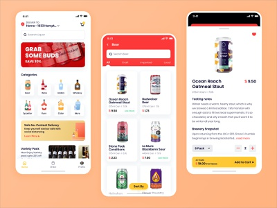 Liquor Delivery - Home and List Page Design instacart grocery mobile app design homepage beer cart illustration user experience ios interface design ux ui restaurant app food delivery app delivery app meat delivery grocery delivery liquor delivery