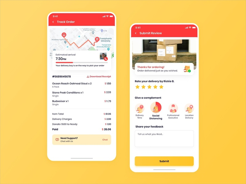 Track Order and Submit Review Design delivery app order tracking app covid-19 illustration invoice app rating ui uiux ui design shopping grocery delivery meat delivery food delivery tracking reviews submit review