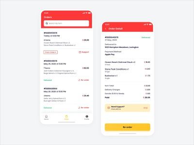 Order and Order Detail Page food order detail page grocery liquor delivery delivery app grocery delivery clean illustration user experience ios interface design ux ui need support