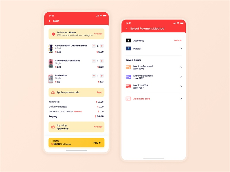 Cart and Select Payment UI Design apple pay promo code grocery food delivery delivery app illustration app user experience interface design ux ui card payment method cart