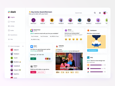Slack Dashboard Concept workflows workday work from home work teamwork team management remote work project management group chat employees communication chat channels microsoft teams chatbot workspace dashboard slack virtual assistant
