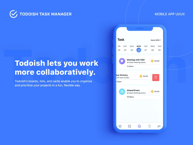 Todoish - Task Manager App UI/UX dashboard project management team management iphone ios to do uiux task manager