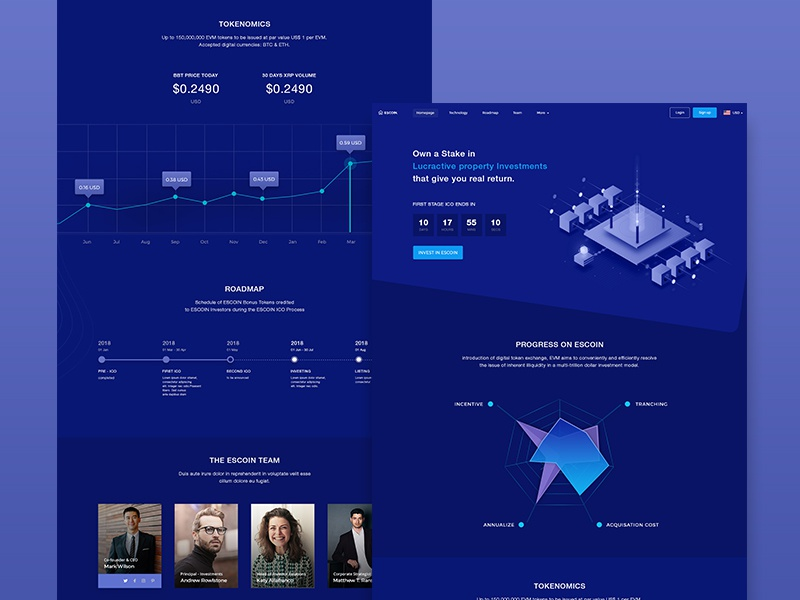 Landing Page for Cryptocurrency ico token payment real estate blockchain wallet currency ux ui dashboard crypto landing page cryptocurrency