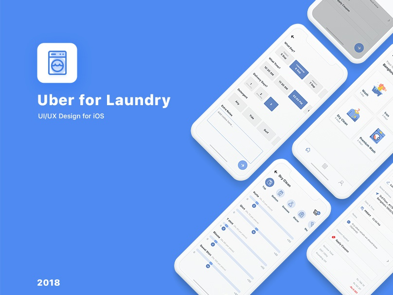 Uber for Laundry branding android mobile app ios designing laundry uber carwash laundry uber user experience uidesign ux uiux ui