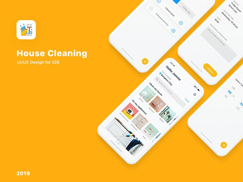 House Cleaning iOS App - Micro Interaction ui design android app ios app tradie house cleaning clean mobile app design ui ux interaction micro interaction