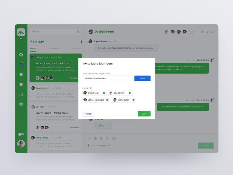 Chat and Invite - Team Management Dashboard UI Concept website dashboard web ux sketch simple minimal chat light interface icons flat design dailui clean app concept gradient interace ui