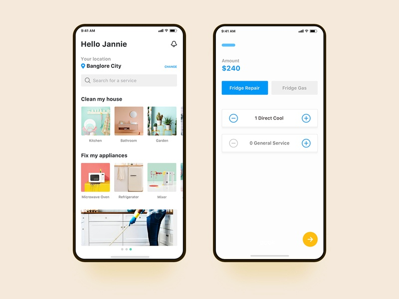 House Cleaning iOS app concept home cleaning service house process cart trade location interface inspiration ux ui minimal ios app house cleaning