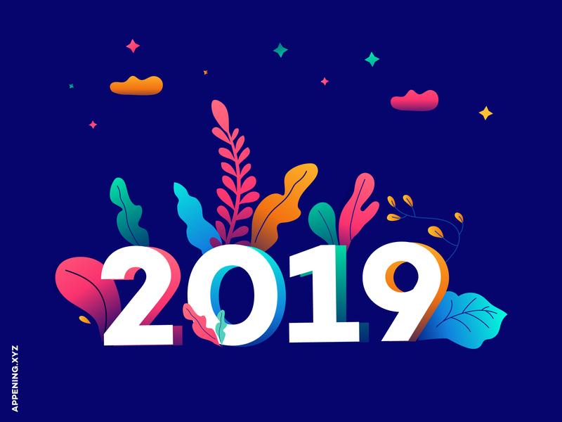 Happy New Year 2019 muzli modern illustration flat illustration gradient design gradient 2019 new year illustration design design agency design illustration art illustration new year 2019