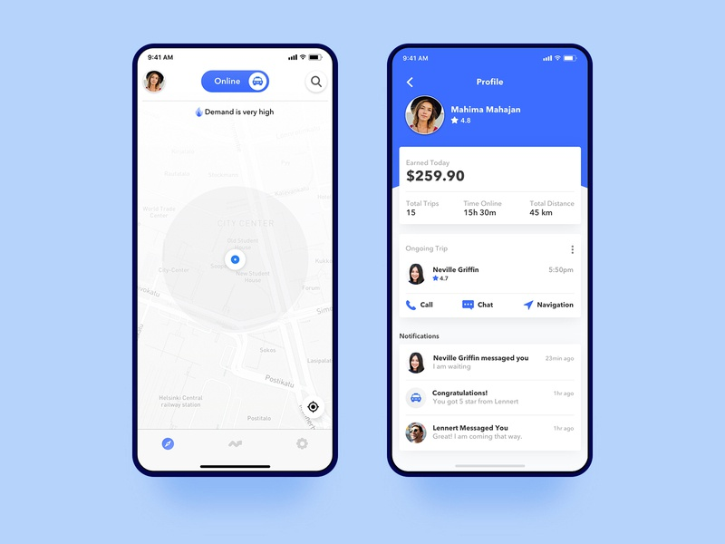 Uber driver home and profile concept dashboard design location taxi app taxi cab earning profile trip notification app gradient interface minimal ux ui ios design driver app uber driver uber design