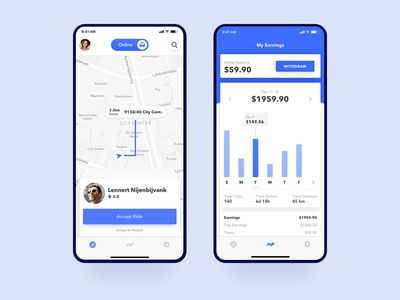 Uber Driver Accept Ride and Earnings UI Concept