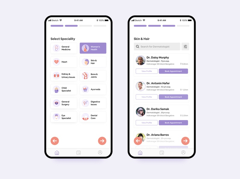 Book Doctor Appointment Online - Speciality & Doctors List illustration light minimal flat simple interface booking vector ux ui zocdoc practo dailyui list iphone icons health app health care healthcare health