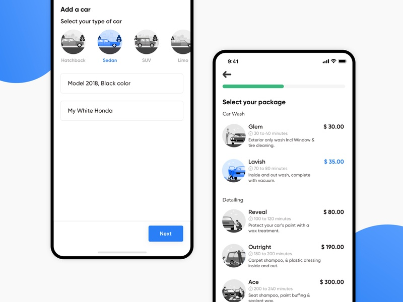 Select Service UI | On-Demand Car Wash light minimal user interface user experience user interaction on demand car service app on demand car wash app muzli ios icons interface ux ui concept illustrations car gradient clean on demand car wash