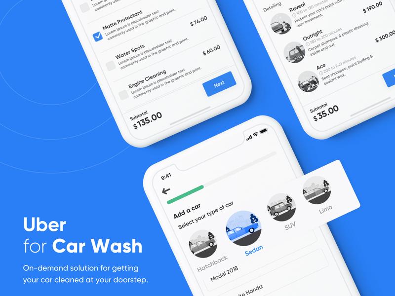 Uber for Car Wash l On-Demand Car Wash App illustration illustrations adobe xd muzli concept on demand car wash app on demand car service app user experience user interface uber design uber car wash on-demand app interface design ios ux ui