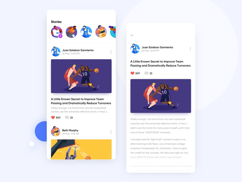 Sports App Design Concept icon vector flat stories mobile nba user experience user interface basketball sketch gradient iphone illustration app ios ux ui design blog minimal
