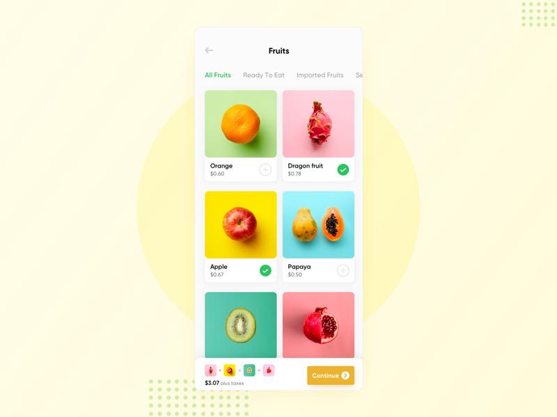 Fruits App Concept interface food app food ios mobile checkout minimal ux ui design app grocery app fruits