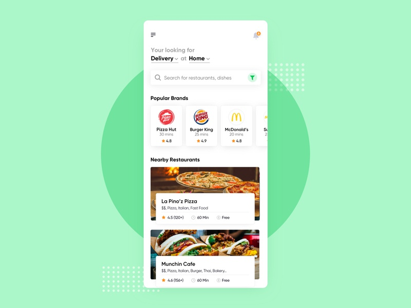 Food Delivery UI Concept restaurant app swiggy yelp pizza hut location food delivery app burger green zomato ubereats iphone minimal app design ui ux ios food app delivery food