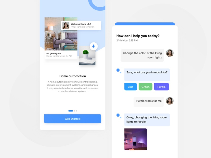 Smart Home UI Concept onboarding ui smart home app smart home light purple appdesign app home googlehome chatbot chat clean iphone minimal design interface ios ux ui assistant