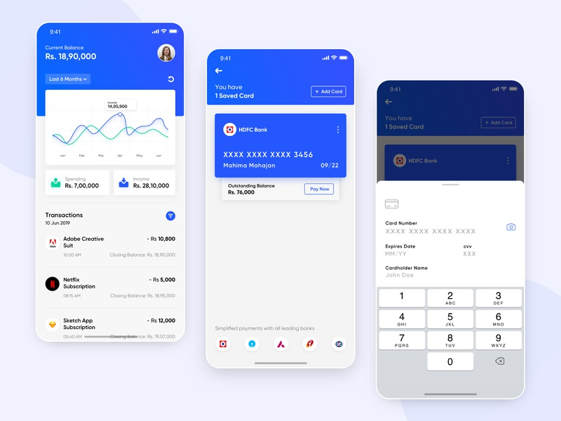 Finance App UI Concept credit card income expenses salary tracker user interface concept design add card transactions user inteface graph wallet app money fintech finance iphone design interface ios ux ui