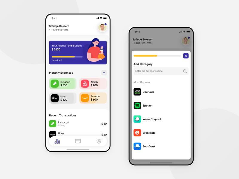 Finance Budget Tracker illustration grocery uber airbnb ux design finance app filter payment statistics spendings ux ui interface budget tracker clean design business fintech banking bank app app