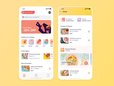 Meat Delivery App Home and List Page freshdirect iphone postmates shipt peapod amazonfresh food instacart on-demand grocery app illustration interaction user experience design interface ios ux ui