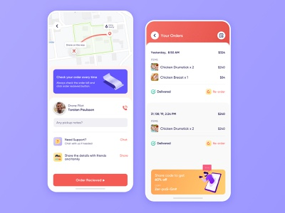 Drone Food Delivery Order Tracking and Orders List licious on demand grocery shipt peapod meat amazonfresh postmates freshdirect interface instacart on-demand user experience iphone app design ios ux ui drone