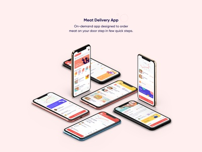 Meat Delivery App UI/UX mobile postmates interaction shipt on-demand instacart freshdirect food amazonfresh grocery delivery illustration user experience iphone design interface ios ux ui