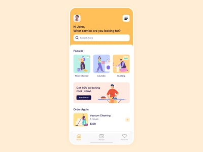 On-Demand House Cleaning - Home concept icon vector flat minimal maid illustrator taskrabbit handy mobile ios thumbtack app iphone illustration user experience ux ui design
