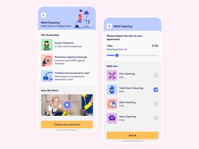 On-Demand House Cleaning - Service Detail and Add-ons slider mobile concept clean minimal iphone flat vector icon maid thumbtack handy taskrabbit illustration user experience app design ios ux ui