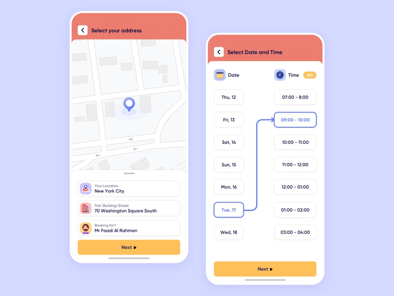 Select Address, Date and Time date picker selection icon mobile iphone map on-demand vector flat location clean minimal user experience app interface design ios ux ui