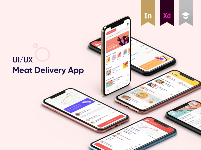 Meat Delivery Mobile App -  Featured on Behance iphone interaction award winning on-demand delivery illustration user experience minimal app interface design ios icons ux ui delivery app meat delivery featured behance